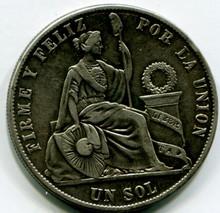 1873 YJ Peru Sol KM#196.3  AU