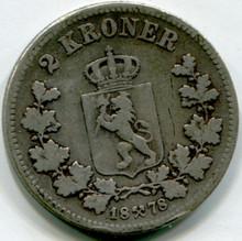 1878 Norway 2 Kroner KM#359  F