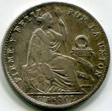 1903 JF Peru 1/5 Sol KM#205.2   MS60