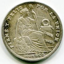 1916 FG Peru 1/5 Sol KM#205.2   MS60