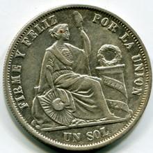 1868 YB Peru Sol KM#196.3 VF
