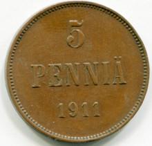1911 Finland 5 Pennia KM#15  XF40