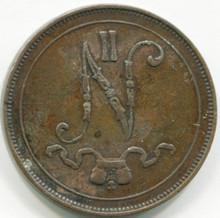 1907 Finland 10 Pennia KM#14  VF30