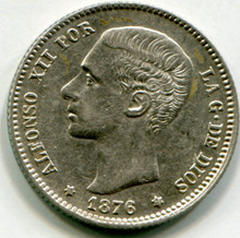1876 (76) Spain Peseta KM#672  XF
