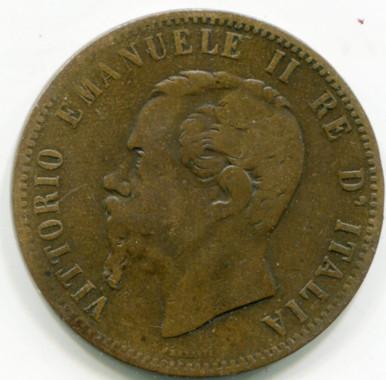 1866 H Italy 10 Centesimi KM#11.3 F+