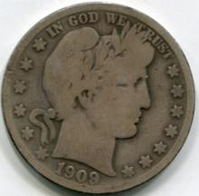 1909 S Barber Half dollar VG10