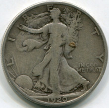 1920  S Walking Liberty  Half Dollar F