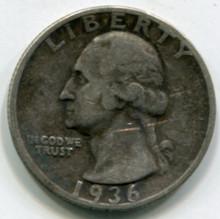 1936 S Washington Quarter VF