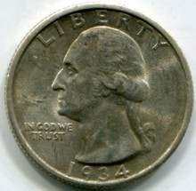 1934  Washington  Quarter  AU50