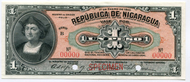 Nicaragua $1 Peso 1910 P#445 Uncirculated Specimen Banknote