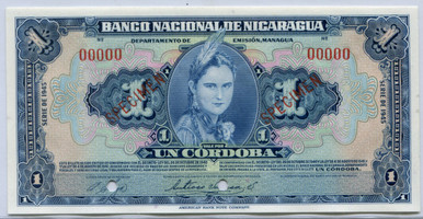 Nicaragua $1 Cordoba 1945 P#71 F Revalidado Banknote