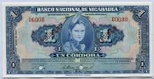 Nicaragua $1 Cordoba 1932 P#71 F Revalidado Banknote