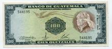 1968 Guatemala 100 Quetzales P#57c    AU