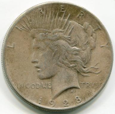 1928 Peace Dollar  AU58