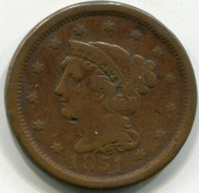 1851 Liberty Large Cent F