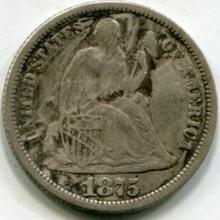 1875 Liberty Seated Dime F