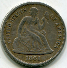 1861 Liberty Seated Dime F