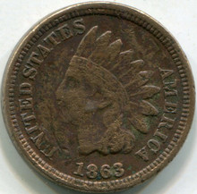 1863 Indian Cent F