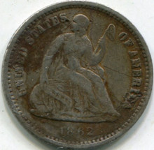 1862 Liberty Seated Half Dime Damaged Scratched