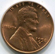 1958-D Lincoln Cent MS-64RD