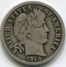 1914 Barber Dime (F)
