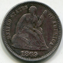 1869 Seated Liberty Half Dime XF-45