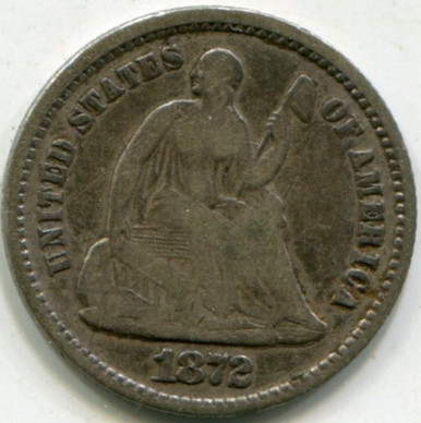 1872 Liberty Seated Dime VG