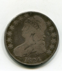 1824/1824 Bust Half Dollar Damaged Rev. Net(G)
