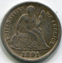 1891 (XF-45) Seated Dime