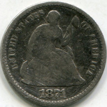 1871 (VG-8) Seated Half Dime