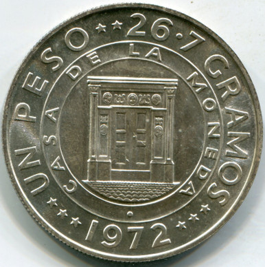 1972 Dominican KM#34 Mintage 27,000 (MS-65) .7726 ASW Peso