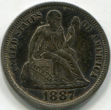 1887 (AU-50) Seated Liberty Dime
