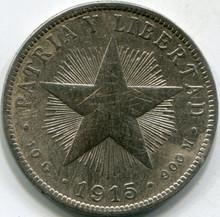 1915 Cuba Damaged Cleaned F Details 40 Centavos