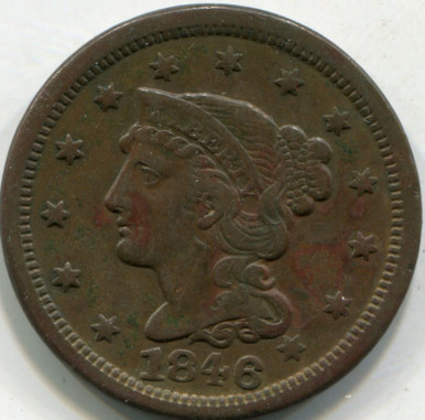 1846 Med. Letter (XF-45) Braided Hair Large Cent