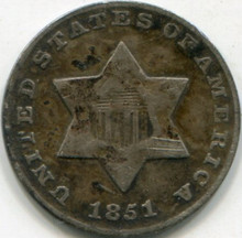 1851 (VF) Three Cent Silver