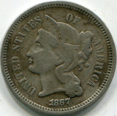 1867 (F) Three Cent Nickel