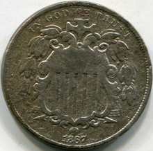 1867 Corroded VF Details No Ray Shield Nickel