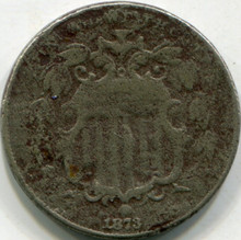 1873 (CL-3) (F) Details Corroded Shield Nickel