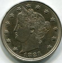 1883 (No Cent) (UNC) Liberty V Nickel