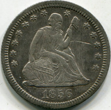 1856 (XF) Details Scratches Liberty Seated Quarter
