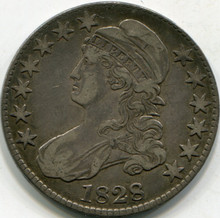 1828 SD-2 SM-8 SM Letter (XF-40) Capped Bust Half Dollar