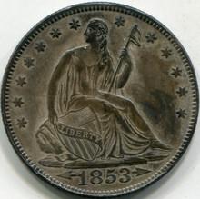 1853 (Arrows) (AU-58) Liberty Seated Half Dollar