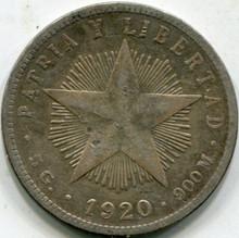 1920 Cuba (F) 20 Centavos