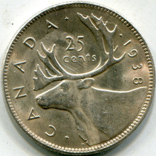 1938 Canada KM#35 .150 ASW (AU) 25 Cents
