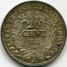 1850A France KM#758.1 .0289 ASW (AU) .20 Centimes