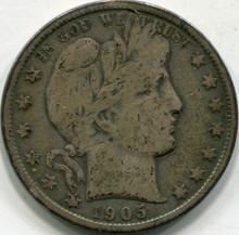 1905-O (VG-10) Barber Half Dollar