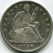 1856-O Damaged (AU-Details) Seated Half Dollar