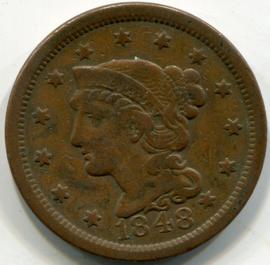1848 Large Cent, VF