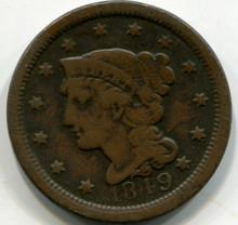 1849 Large Cent, F