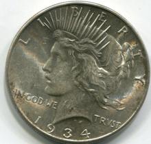 1934 Peace Dollar , AU58